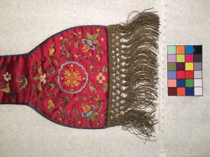 Liturgical stole (detail), satin with Chinese embroidery and golden tassels, 19th century. Santa Clara, de Saisset Museum, A15.59.14