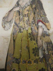 (Detail) Fashion plate published by Nicolas Ier Bonnart (vers 1637-1718), after a drawing by Robert Bonnart (1652-1733. Print on paper cut out, textile fabric glued on cardboard, and coloured, circa 1690-1700. 290 x 195 mm. Paris, Bibliothèque nationale de France, Département des Estampes et de la Photographie, Collection Smith-Lesouëf, 9458