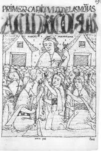 El primer crónica y buen gobierno, Philipe Guaman Poma de Ayala, 1615. Copenhagen, Kongelige Bibliotek, p. 300 (K.B. p. 302). Inca women are spinning; they all wear mantas over their wrap-around dress.
