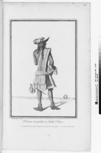 Homme de qualité en habit d'hiver (1678), Fashion plate by Jean Dieu de Saint-Jean (1654-1695), Ars. 368, pl. 106. Paris, Bibliothèque nationale de France